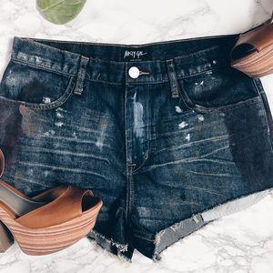 Nasty Gal high rise shorts // distressed denim
